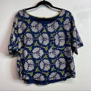 Anthropologie Meadow Rue lined crepe blue Blouse